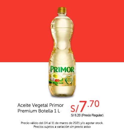 Aceite Vegetal Primor Premium Botella 1 L