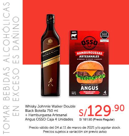 Whisky Johnnie Walker Double Black Botella 750 ml   Hamburguesa Artesanal Angus OSSO Caja 4 Unidades