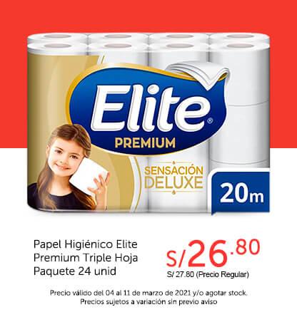 Papel Higiénico Elite Premium Triple Hoja Paquete 24 unid