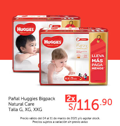 Pañal Huggies Bigpack Natural Care Talla G, XG, XXG