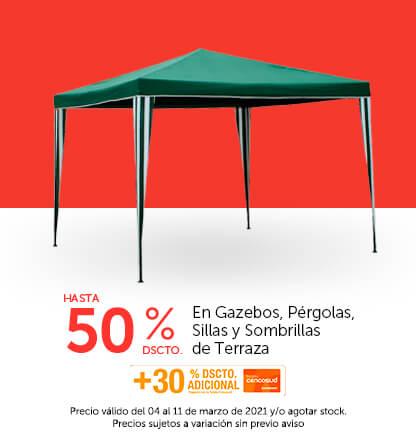 Hasta 50%   30% con TC en Gazebos, Pérgolas, Sillas y Sombrillas de Terraza