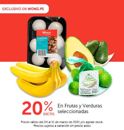 20% Dscto. En Frutas y Verduras seleccionadas