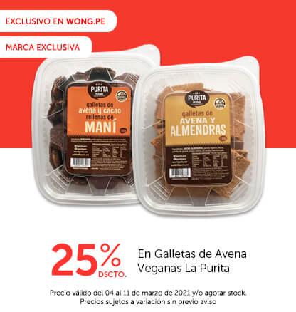 25% Dscto. En Galletas de Avena Veganas La Purita