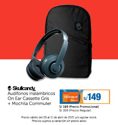 Skullcandy Audífonos Inalámbricos On Ear Cassette Gris   Mochila Commuter