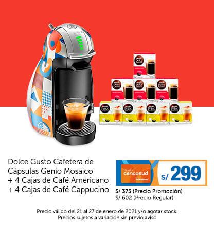 Dolce Gusto Cafetera de Cápsulas Genio Mosaico + 4 Cajas de Café Americano + 4 Cajas de Café Cappucino
