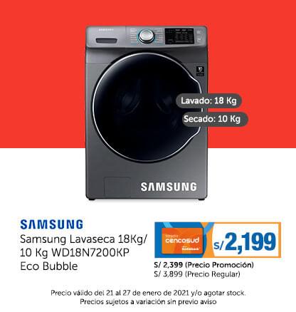 Samsung Lavaseca 18 Kg / 10 Kg WD18N7200KP Eco Bubble