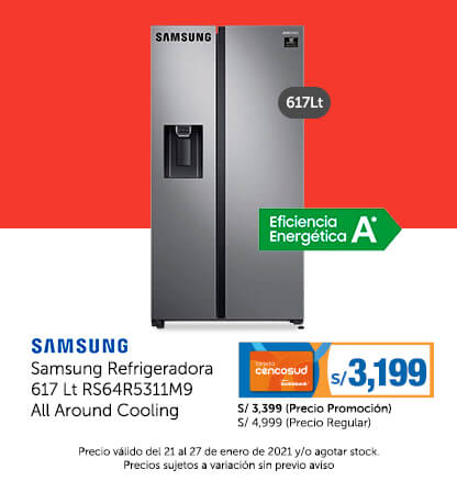 Samsung Refrigeradora 617 Lt RS64R5311M9 All Around Cooling