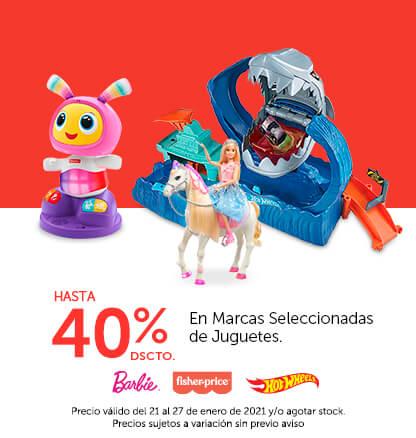 Hasta 40% de descuento en Marcas seleccionadas de Juguetes. Colocar logos (Fisher price, Barbie, Hot wheels)