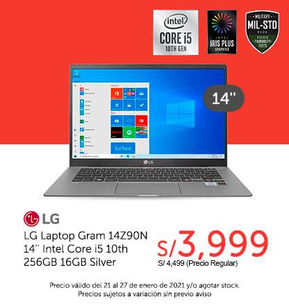 LG Laptop Gram 14Z90N 14'' Intel Core i5 10th 256GB 16GB Silver