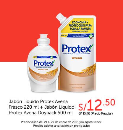 Jabón Líquido Protex Avena Frasco 220 ml + Jabón Líquido Protex Avena Doypack 500 ml