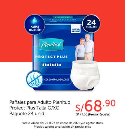 Pañales para Adulto Plenitud Protect Plus Talla G/XG Paquete 24 unid