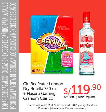 Gin Beefeater London Dry Botella 750 ml + Hasbro Gaming Cranium Clásico