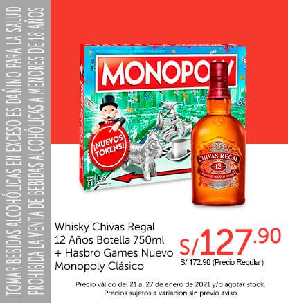 Whisky Chivas Regal 12 Años Botella 750 ml + Hasbro Games Nuevo Monopoly Clásico