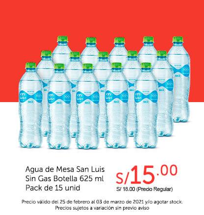 Agua de Mesa San Luis Sin Gas Botella 625 ml Pack de 15 unid