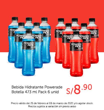 Bebida Hidratante Powerade Botella 473 ml Pack 6 unid