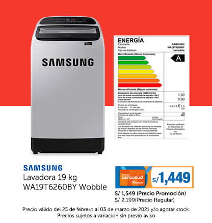 Samsung Lavadora 19 kg WA19T6260BY Wobble