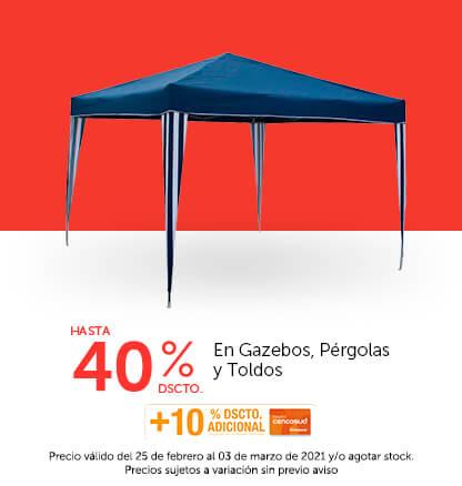 Hasta 40% + 10% con TC en Gazebos, Pérgolas y Toldos