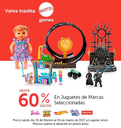 Venta isólita Mattel: Hasta 60% de descuento en en Juguetes de Marcas Seleccionadas. Colocar Logos:Barbie, Toy Story,Hot Wheels, Fisher Price, Polly Pocket