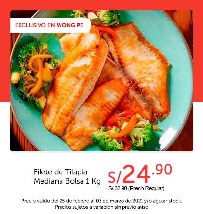 Filete de Tilapia Mediana Bolsa 1 Kg