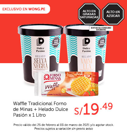 Waffle Tradicional Forno de Minas + Helado Dulce Pasión x 1 Litro a S/ 19.49
