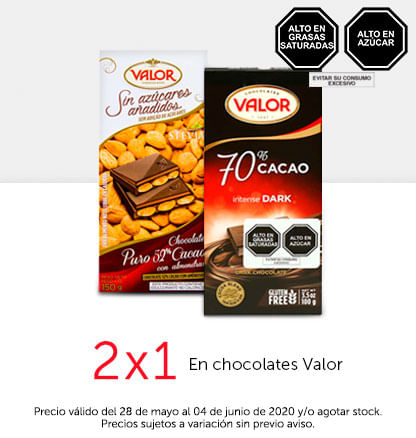2x1 en chocolates Valor