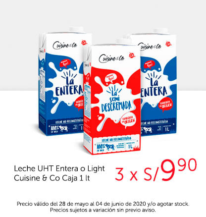 Leche UHT Entera o Light Cuisine & Co Caja 1 lt
