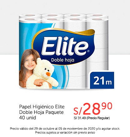 Papel Higiénico Elite Doble Hoja Paquete 40 und