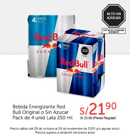 Bebida Energizante Red Bull Original o Sin Azucar Pack de 4 und Lata 250ml