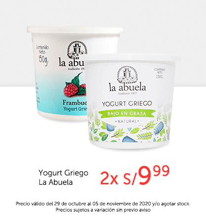 Yogurt Griego La Abuela 2 x S/.9.99