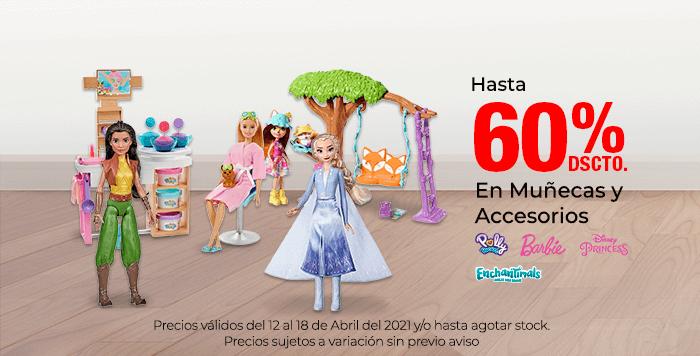 Hasta 60% de descuento en Muñecas y Accesorios. Colocar marcas: Polly Pocket, Barbie, Disney, Enchantimals