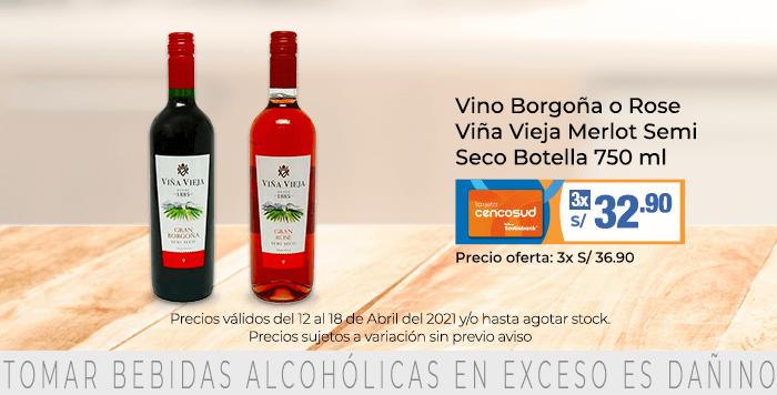 Vino Borgoña o Rose Viña Vieja Merlot Semi Seco Botella 750 ml