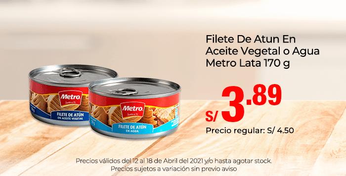 Filete De Atun En Aceite Vegetal o Agua Metro Lata 170 g