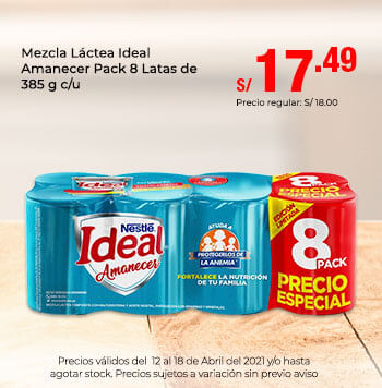 Mezcla Láctea Ideal Amanecer Pack 8 Latas de 385 g c/u