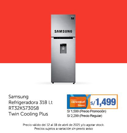 Samsung Refrigeradora 318 Lt RT32K5730S8 Twin Cooling Plus