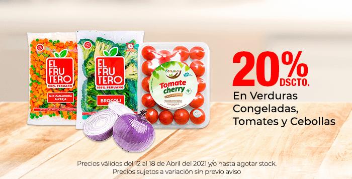 20% de Dscto. En Verduras Congeladas, Tomates y Cebollas