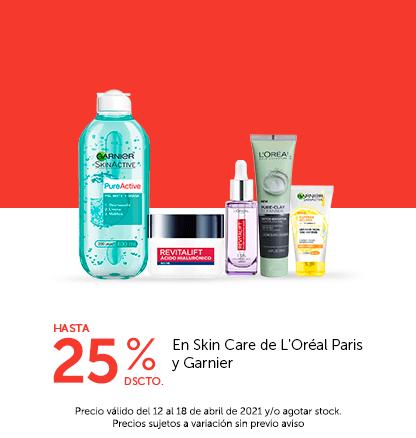 Hasta 25% de dscto. en Skin Care de L'Oréal Paris y Garnier