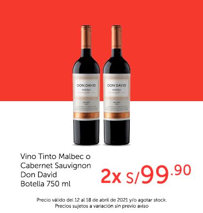 Vino Tinto Malbec o Cabernet Sauvignon Don David Botella 750 ml