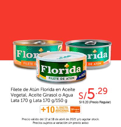 Filete de Atún Florida en Aceite Vegetal, Aceite Girasol o Agua Lata 170 g Lata 170 g/150 g