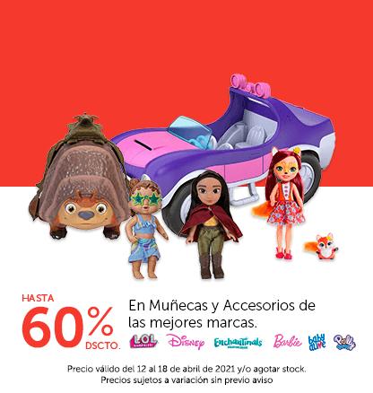 Hasta 60% de descuento en Muñecas y Accesorios de las mejores marcas. Colocar marcas: LOL, Disney, Enchantimals. Barbie,Baby Alive, Polly Pocket,