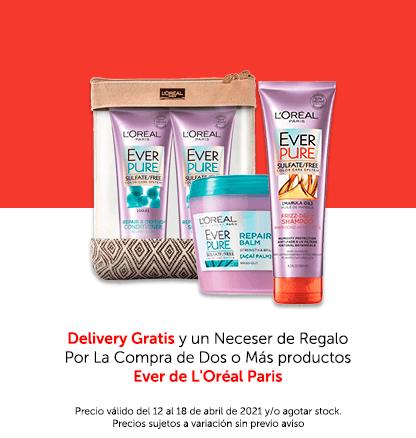 Delivery Gratis y un Neceser de Regalo Por La Compra de Dos o Más productos Ever de L'Oréal Paris