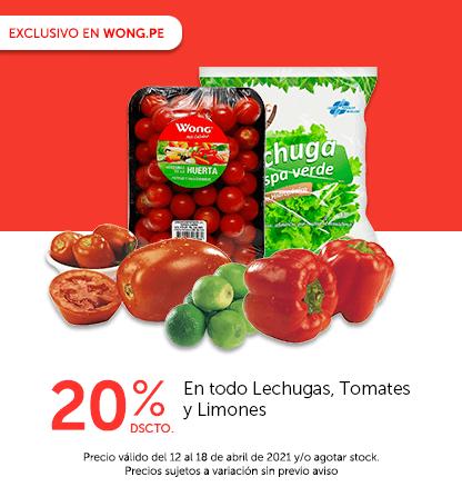 20% de Dscto. En todo Lechugas, Tomates y Limones