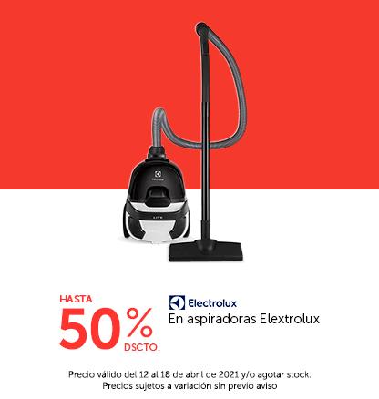Hasta 50% descuento en aspiradoras Elextrolux (colocar el logo de la marca)
