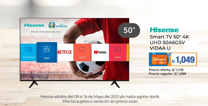 Hisense Smart TV 50 4K UHD 50A6GSV VIDAA U