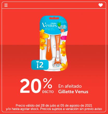 20% de dscto en afeitado Gillette Venus