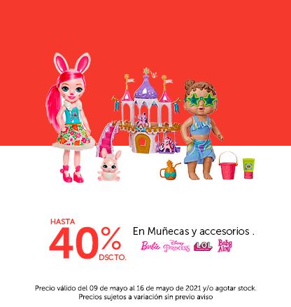 Hasta 40% de descuento en Muñecas y Accesorios. Marcas: Lol, Disney Princess, Baby alive, Barbie