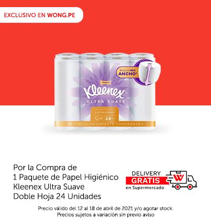 Delivery Gratis en Supermercado Por la Compra de 1 Paquete de Papel Higiénico Kleenex Ultra Suave Doble Hoja 24 Unidades