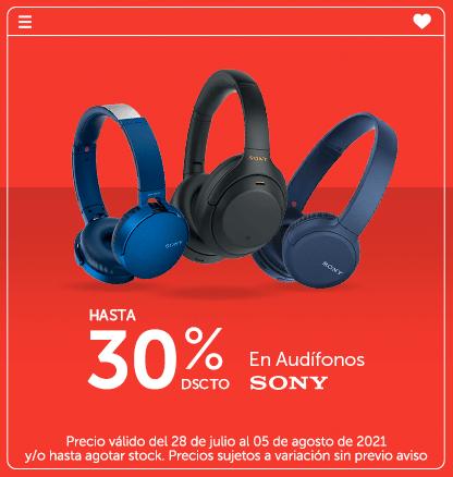 Hasta 30% en Audífonos Sony