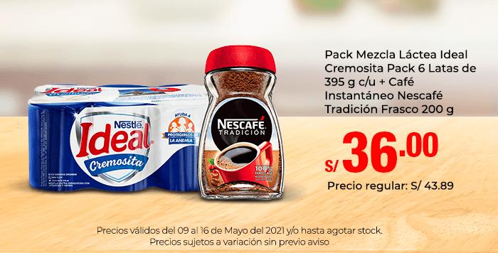 Pack Mezcla Láctea Ideal Cremosita Pack 6 Latas de 395 g c/u + Café Instantáneo Nescafé Tradición Frasco 200 g