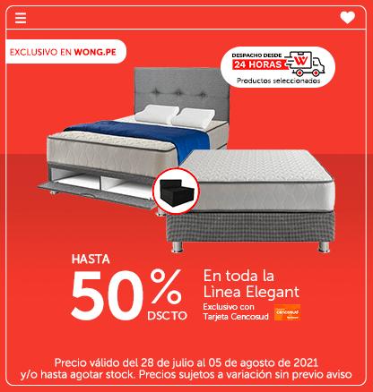 Hasta el 50% de Dscto en toda la Lìnea Elegant exclusivo con Tarjeta Cencosud (Despacho desde 24 Hrs: Productos seleccionados)
