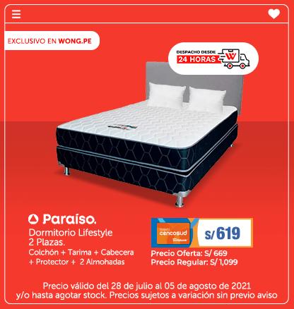 Dormitorio Lifestyle 2 Plazas. Colchón + Tarima + Cabecera + Protector +  2 Almohadas (Logo Paraiso) (Despacho desde 24 Hrs)